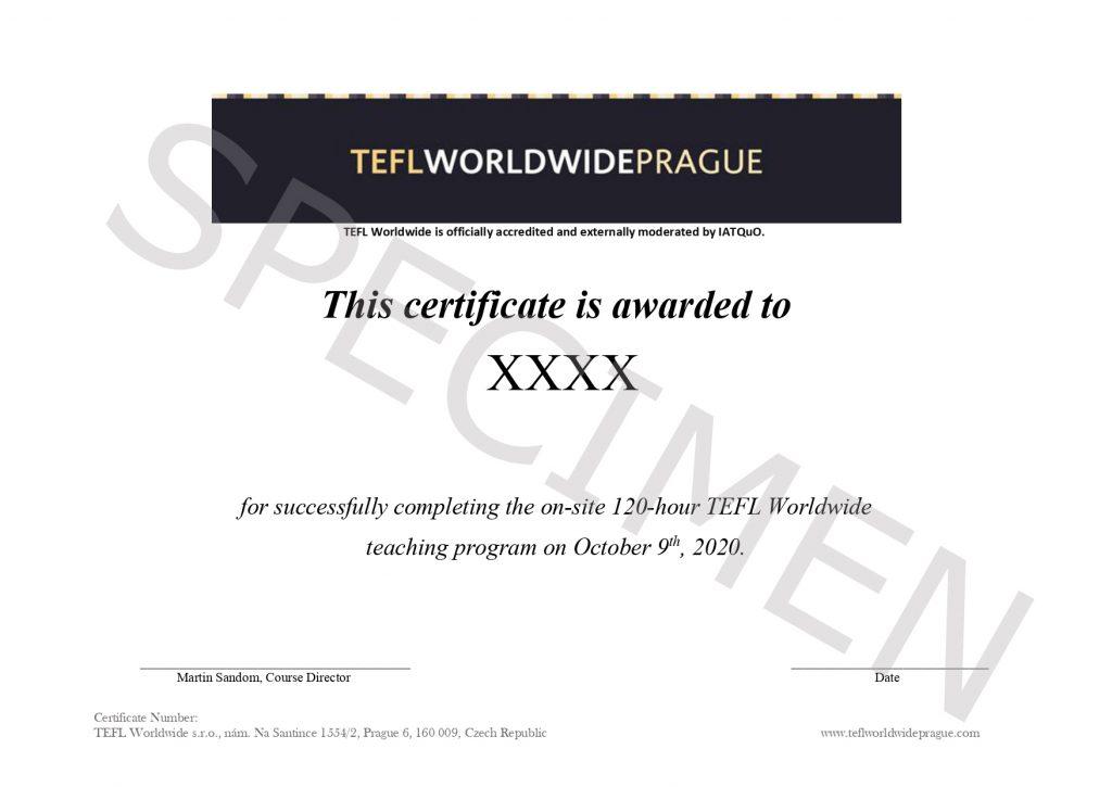 Example of TEFL worldwide certificate