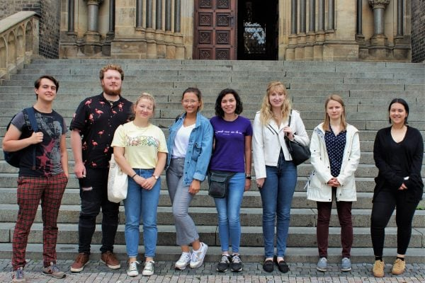 New TEFL students on the first day of the course. Standing outside church in Prague