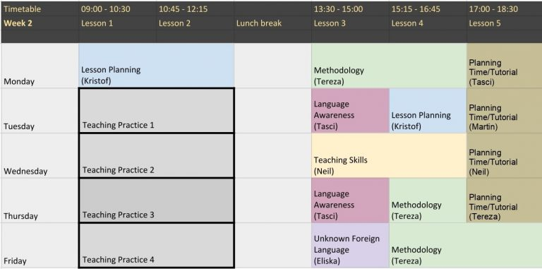 Example of TEFL Worldwide schedule for a typical week
