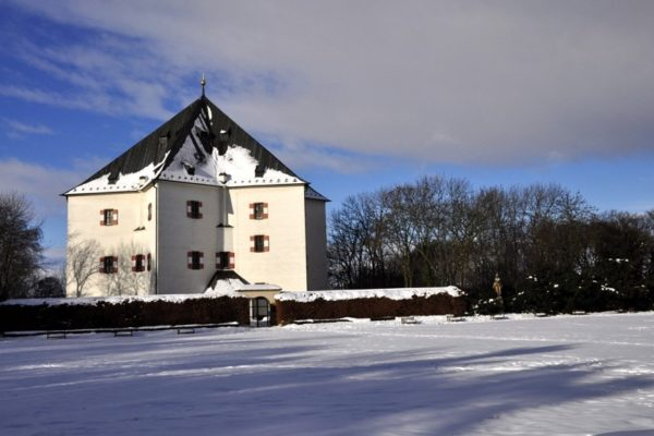 The Star Lodge in Prague in winter covered in snow